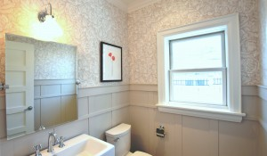 Powder Room with Custom Wainscoting